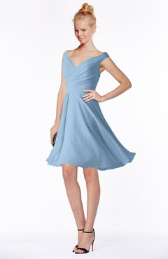 ColsBM Chloe Sky Blue Classic Fit-n-Flare Zip up Chiffon Knee Length Ruching Bridesmaid Dresses
