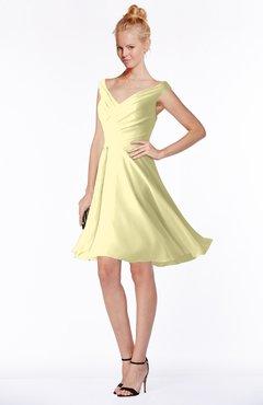 ColsBM Chloe Soft Yellow Classic Fit-n-Flare Zip up Chiffon Knee Length Ruching Bridesmaid Dresses