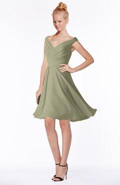 ColsBM Chloe Sponge Classic Fit-n-Flare Zip up Chiffon Knee Length Ruching Bridesmaid Dresses