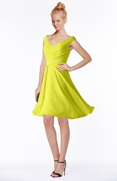 ColsBM Chloe Sulphur Spring Classic Fit-n-Flare Zip up Chiffon Knee Length Ruching Bridesmaid Dresses