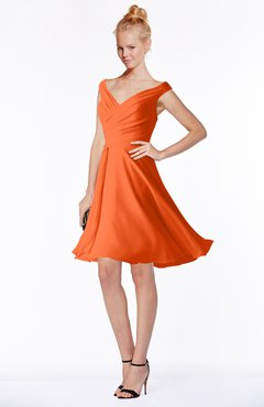 ColsBM Chloe Tangerine Classic Fit-n-Flare Zip up Chiffon Knee Length Ruching Bridesmaid Dresses