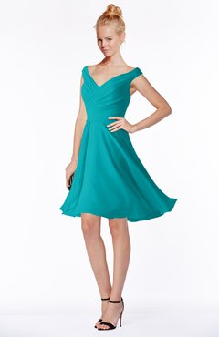 ColsBM Chloe Teal Classic Fit-n-Flare Zip up Chiffon Knee Length Ruching Bridesmaid Dresses