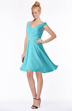 ColsBM Chloe Turquoise Classic Fit-n-Flare Zip up Chiffon Knee Length Ruching Bridesmaid Dresses