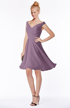 ColsBM Chloe Valerian Classic Fit-n-Flare Zip up Chiffon Knee Length Ruching Bridesmaid Dresses