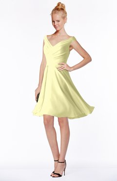 ColsBM Chloe Wax Yellow Classic Fit-n-Flare Zip up Chiffon Knee Length Ruching Bridesmaid Dresses