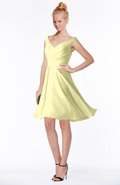 ColsBM Chloe Wax Yellow Classic Fit-n-Flare Zip up Chiffon Knee Length Ruching Bridesmaid Dresses