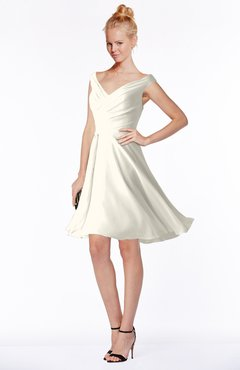 ColsBM Chloe Whisper White Classic Fit-n-Flare Zip up Chiffon Knee Length Ruching Bridesmaid Dresses