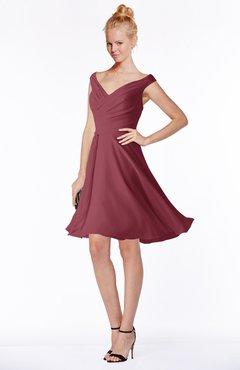 ColsBM Chloe Wine Classic Fit-n-Flare Zip up Chiffon Knee Length Ruching Bridesmaid Dresses