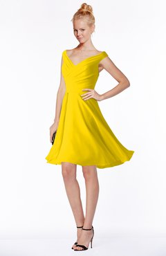 ColsBM Chloe Yellow Classic Fit-n-Flare Zip up Chiffon Knee Length Ruching Bridesmaid Dresses