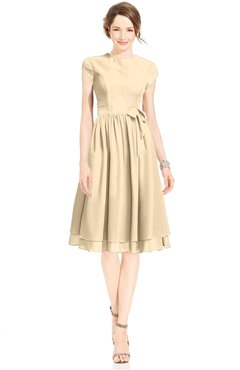 ColsBM Jane Apricot Gelato Mature Fit-n-Flare High Neck Zip up Chiffon Bridesmaid Dresses