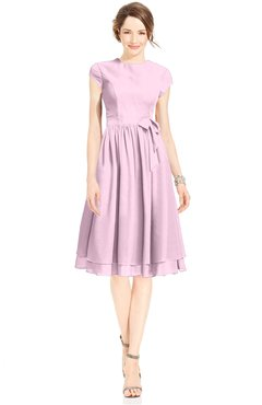 ColsBM Jane Baby Pink Mature Fit-n-Flare High Neck Zip up Chiffon Bridesmaid Dresses