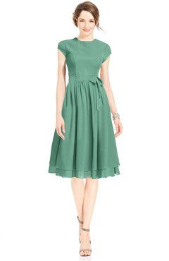 ColsBM Jane Beryl Green Mature Fit-n-Flare High Neck Zip up Chiffon Bridesmaid Dresses