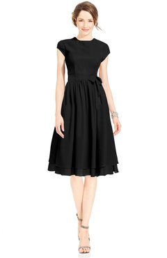 ColsBM Jane Black Mature Fit-n-Flare High Neck Zip up Chiffon Bridesmaid Dresses