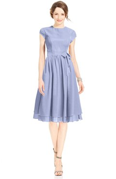 ColsBM Jane Blue Heron Mature Fit-n-Flare High Neck Zip up Chiffon Bridesmaid Dresses