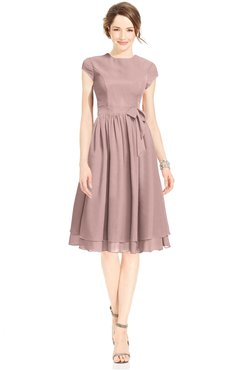 ColsBM Jane Blush Pink Mature Fit-n-Flare High Neck Zip up Chiffon Bridesmaid Dresses