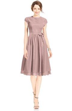 ColsBM Jane Blush Pink Mature Fit-n-Flare High Neck Zip up Chiffon Bridesmaid Dresses