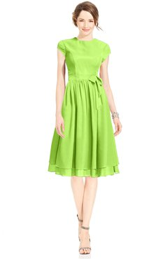 ColsBM Jane Bright Green Mature Fit-n-Flare High Neck Zip up Chiffon Bridesmaid Dresses