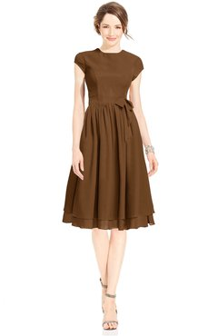 ColsBM Jane Brown Mature Fit-n-Flare High Neck Zip up Chiffon Bridesmaid Dresses