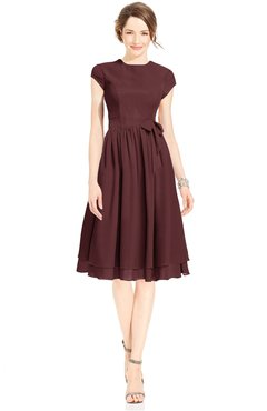 ColsBM Jane Burgundy Mature Fit-n-Flare High Neck Zip up Chiffon Bridesmaid Dresses