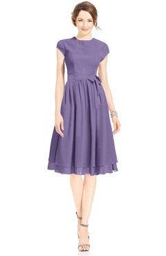 ColsBM Jane Chalk Violet Mature Fit-n-Flare High Neck Zip up Chiffon Bridesmaid Dresses