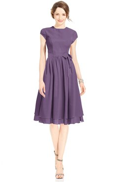 ColsBM Jane Chinese Violet Mature Fit-n-Flare High Neck Zip up Chiffon Bridesmaid Dresses