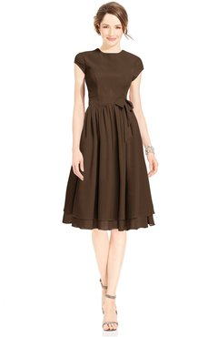 ColsBM Jane Chocolate Brown Mature Fit-n-Flare High Neck Zip up Chiffon Bridesmaid Dresses