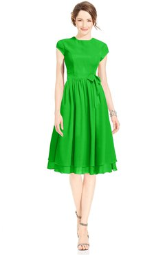 ColsBM Jane Classic Green Mature Fit-n-Flare High Neck Zip up Chiffon Bridesmaid Dresses