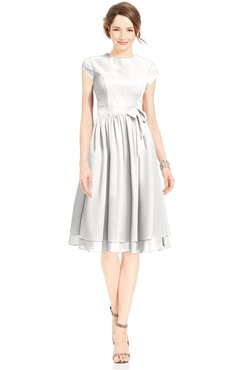 ColsBM Jane Cloud White Mature Fit-n-Flare High Neck Zip up Chiffon Bridesmaid Dresses