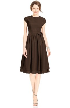 ColsBM Jane Copper Mature Fit-n-Flare High Neck Zip up Chiffon Bridesmaid Dresses