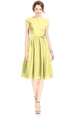 ColsBM Jane Daffodil Mature Fit-n-Flare High Neck Zip up Chiffon Bridesmaid Dresses