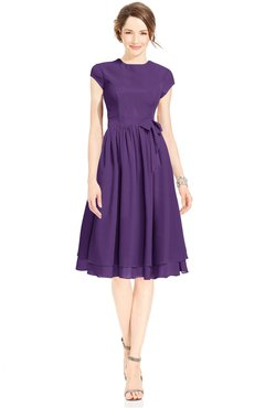 ColsBM Jane Dark Purple Mature Fit-n-Flare High Neck Zip up Chiffon Bridesmaid Dresses