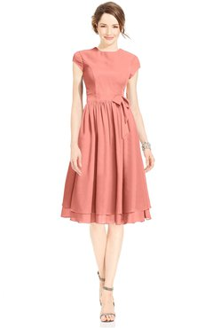 ColsBM Jane Desert Flower Mature Fit-n-Flare High Neck Zip up Chiffon Bridesmaid Dresses