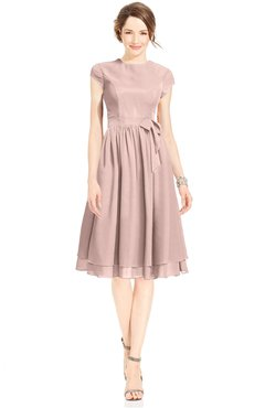 ColsBM Jane Dusty Rose Mature Fit-n-Flare High Neck Zip up Chiffon Bridesmaid Dresses