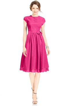 ColsBM Jane Fandango Pink Mature Fit-n-Flare High Neck Zip up Chiffon Bridesmaid Dresses