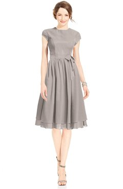 ColsBM Jane Fawn Mature Fit-n-Flare High Neck Zip up Chiffon Bridesmaid Dresses