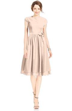 ColsBM Jane Fresh Salmon Mature Fit-n-Flare High Neck Zip up Chiffon Bridesmaid Dresses