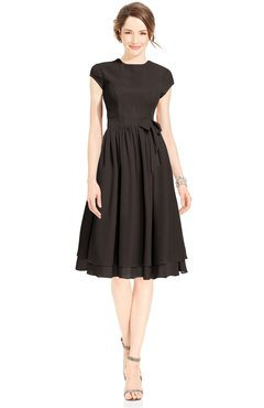 ColsBM Jane Fudge Brown Mature Fit-n-Flare High Neck Zip up Chiffon Bridesmaid Dresses