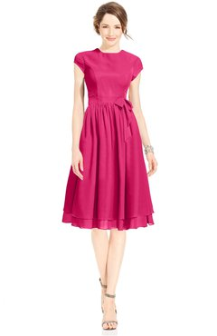 ColsBM Jane Coral Pink Mature Fit-n-Flare High Neck Zip up Chiffon Bridesmaid Dresses