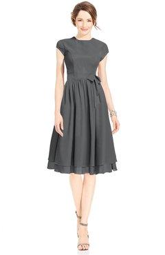 ColsBM Jane Grey Mature Fit-n-Flare High Neck Zip up Chiffon Bridesmaid Dresses