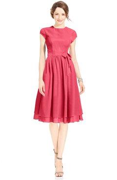 ColsBM Jane Guava Mature Fit-n-Flare High Neck Zip up Chiffon Bridesmaid Dresses