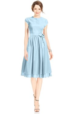 ColsBM Jane Ice Blue Mature Fit-n-Flare High Neck Zip up Chiffon Bridesmaid Dresses