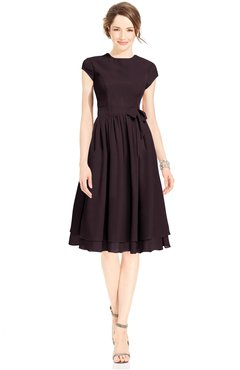 ColsBM Jane Italian Plum Mature Fit-n-Flare High Neck Zip up Chiffon Bridesmaid Dresses