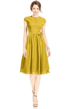 ColsBM Jane Lemon Curry Mature Fit-n-Flare High Neck Zip up Chiffon Bridesmaid Dresses