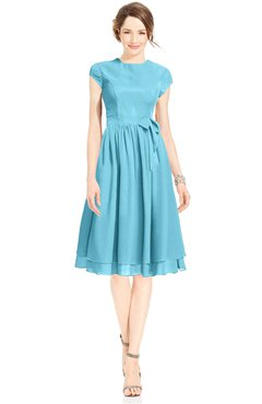 ColsBM Jane Light Blue Mature Fit-n-Flare High Neck Zip up Chiffon Bridesmaid Dresses