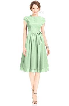 ColsBM Jane Light Green Mature Fit-n-Flare High Neck Zip up Chiffon Bridesmaid Dresses