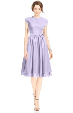 ColsBM Jane Light Purple Mature Fit-n-Flare High Neck Zip up Chiffon Bridesmaid Dresses