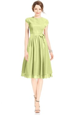 ColsBM Jane Lime Sherbet Mature Fit-n-Flare High Neck Zip up Chiffon Bridesmaid Dresses