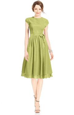 ColsBM Jane Linden Green Mature Fit-n-Flare High Neck Zip up Chiffon Bridesmaid Dresses