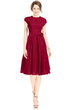 ColsBM Jane Maroon Mature Fit-n-Flare High Neck Zip up Chiffon Bridesmaid Dresses