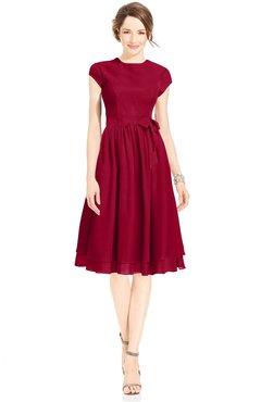 ColsBM Jane Maroon Mature Fit-n-Flare High Neck Zip up Chiffon Bridesmaid Dresses